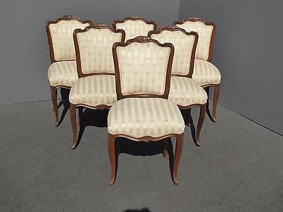 Set of Six Vintage French Country White Floral Carved Wood DINING CHAIRS