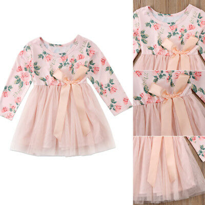 Baby Girls Kids Party Pegeant Tutu Dress Long Sleeve Skirts Floral Lace Dresses