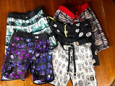 5 pairs of Size 10 MUNSTER, PAPER WINGS & ROCK YOUR BABY boardshorts