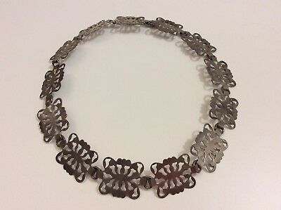Vintage 1960's Handcrafted Butterfly Chain Belt Silver Plated Size S 68cm 27in