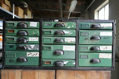 Vintage Industrial Wooden Bank of Drawers shabby haberdashery Pine Lambretta