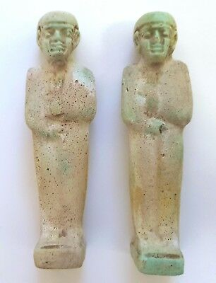 Pair of Egyptian Faience Figures of Ptah / Amulets