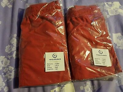 2 pairs red unisex sports shorts size M/12