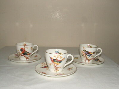 Royal Doulton Art Deco Handpainted Birds 3 Cups & Saucers Truly Stunning