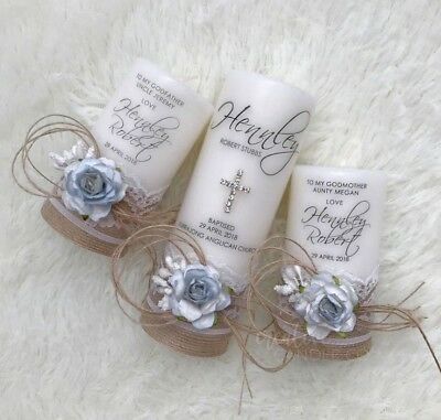 Personalised Christening Candle Set, Baptism Candle or Naming Day Candle S5 Blue