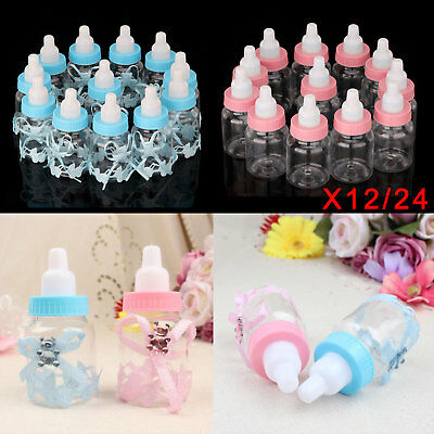 12/24X Fillable Bottles Candy Box Baby Shower Baptism Favour Christening UK