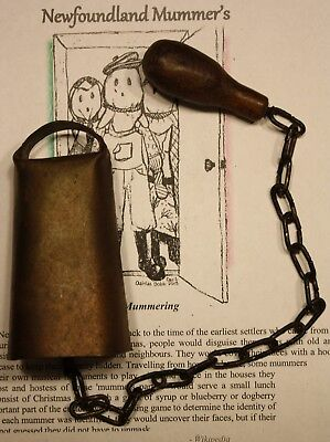 Vintage Metal Cow Or Dinner Bell With Long Chain & Wooden Knob - Oddity