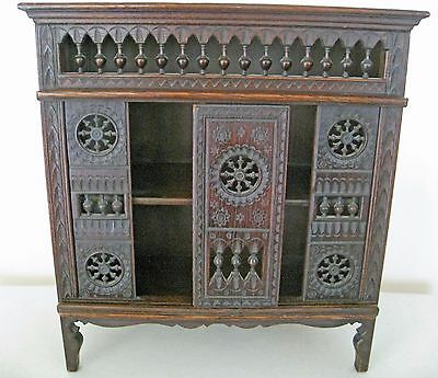 Antique Miniature Brittany Carved Wood Cupboard Cabinet With Sliding Door