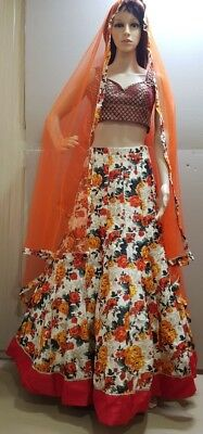 Indian Bollywood Style Party Wear Lengha  And Dupatta No Blouse