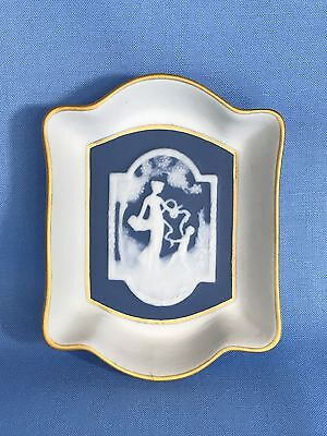 Vintage Limoges France Blue w White Jasperware Cherub & Woman Small Tray Dish