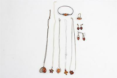Lovely Collection of 925 Sterling Silver AMBER Jewellery