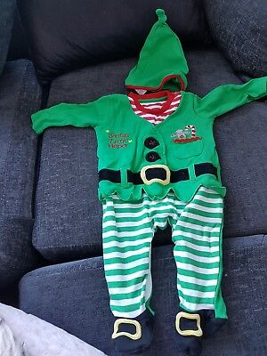3-6 month elf baby grow with hat