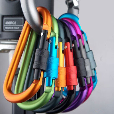 6x Carabiner Clip Key Ring Holder Chain Cable Hiking Hook Lock Camping Screw