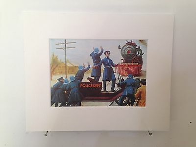 """Vintage book page mounted 10"""" by 8"""" ready to frame - Keystone Cops Scene 1950s"""