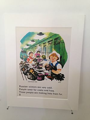 """Vintage book page mounted 10"""" by 8"""" ready to frame - Factory Workers In Russia"""