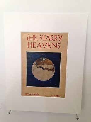 """Vintage book page mounted 10"""" by 8"""" ready to frame - The Starry Heavens Book"""