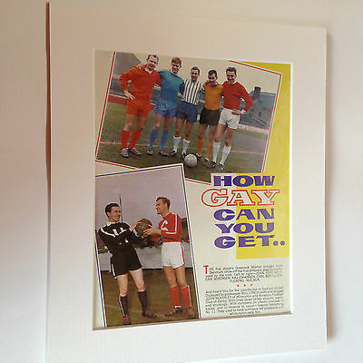 """Vintage book page mounted 12"""" by 10"""" ready to frame - footballers (how gay)"""