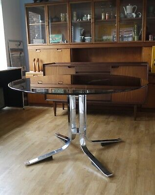 60s 70s Merrow style smoked glass dining table. Vintage. Kjaerholm, Arne Norell