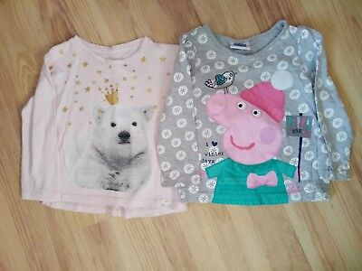 peppa pig and river island polar bear tops 18-24 months 1.5-2 years christmas...