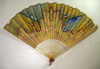 Vintage Hand-Painted Fabric Hand Fan with Pheasants