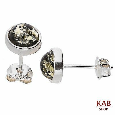 GREEN BALTIC AMBER STERLING SILVER 925 JEWELLERY STUD 4 mm EARRINGS.KAB-3 A