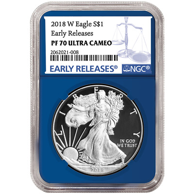 2018-W Proof $1 American Silver Eagle NGC PF70UC Blue ER Label Blue Core
