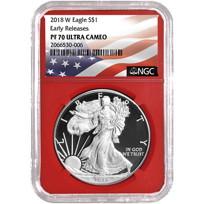 2018-W Proof $1 American Silver Eagle NGC PF70UC Flag ER Label Red Core