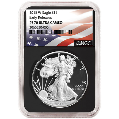 2018-W Proof $1 American Silver Eagle NGC PF70UC Flag ER Label Retro Core