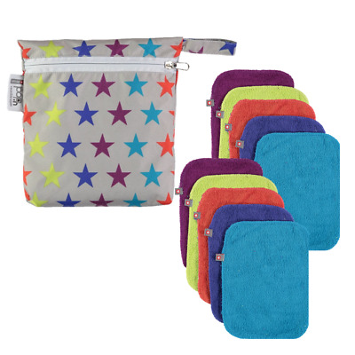 10 x Reusable Bamboo Baby Wipes (Brights) Soft, Super Absorbent, Anti-bacterial