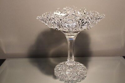 """American Brilliant Abp Gorgeous 9 1/2"""" Libbey Somerset Cut Glass Tazza Compote"""