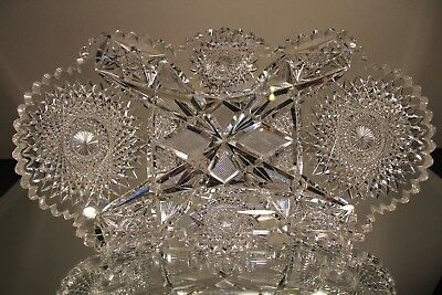 """Signed Hawkes American Brilliant Period Hand Crystal 14 1/2"""" Tray Kent Pattern"""