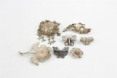 7 x Vintage FILIGREE Themed .925 STERLING SILVER Brooches Mixed Designs-67g