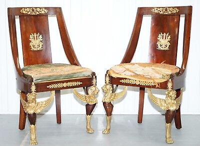 Rare Antique French Second Empire Circa 1852 Mahogany Chairs Period Upholstery