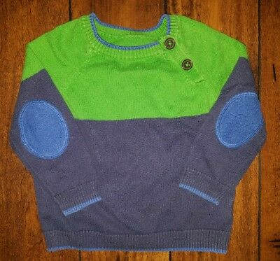 BABY BODEN Blue & Green Cotton Cashmere Sweater Size 12-18 Months