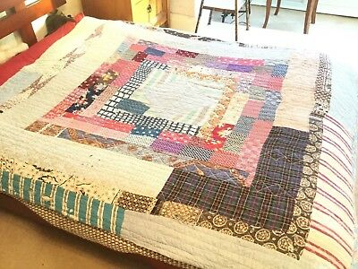 Antique cottage quilt / blanket, hand-made, some repair needed