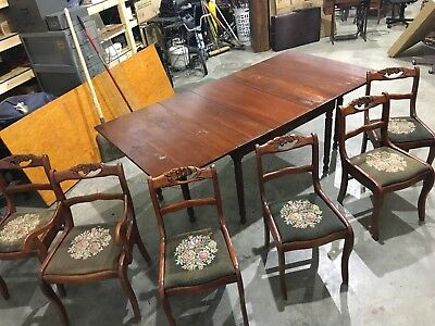 Willett Wildwood Solid Cherry Drop Leaf Rope Leg Dining Table 1 Leaf & 6 Chairs