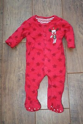 Mothercare Christmas baby boy girl padded wadded sleepsuit 6-9 months