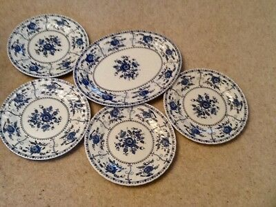 Johnson Bros blue Indies pattern plates 4 round 9 inch(23cms) 1 oval 13 inch