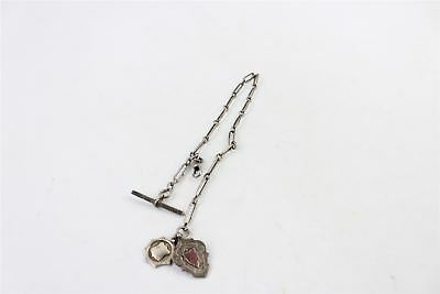 Vintage Gent's Pocket Watch Chain ALBERT With T-Bar & Double Fob -50g