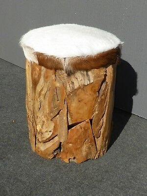 Rustic Cabin Lodge Style Wooden Bench Stool with White Cow Hide Leather Seat