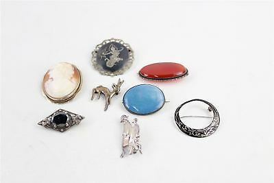 Lot of 8 x Vintage .925 STERLING SILVER Brooches Mixed Designs&Themes -68g