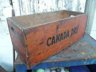 Vintage Original Wooden Crate Canada Dry Wood Box Dated December 1971