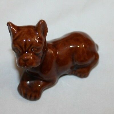 Vintage Brown Boxer Dog Figurine, Glossy, Made in Japan