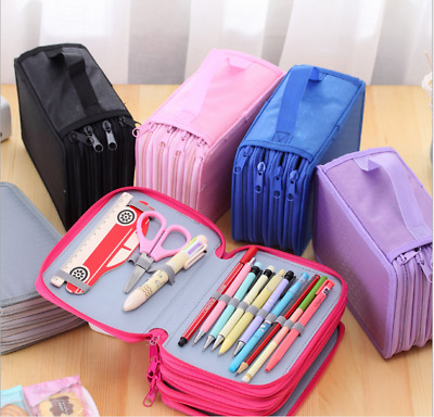 Large Capacity Pen Bag 72 Slots Pencil Organizer Durable Students Stationery New