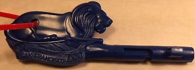 San Francisco Zoo Key Necklace Blue Lion Zoo Key Red Plastic Cord Free Shipping