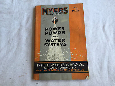Vintage FE MYERS & BROS CO Power Pumps & Water Systems Catalog 1934 Ashland Ohio
