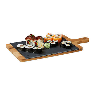 Bamboo Serving Board, with Gray Slate and Handle, Rustic, Cutting Board