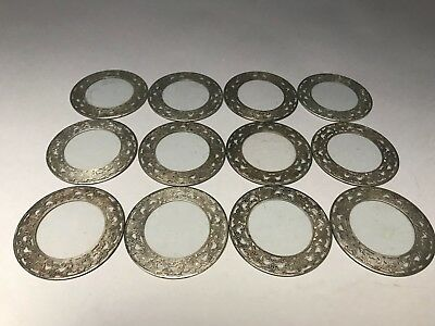 12 Sterling Silver And Glass Drink Coasters Vintage Floral Pattern