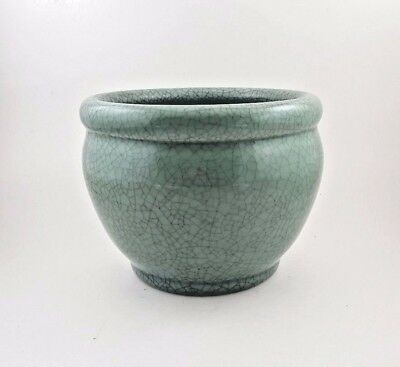 Chinese Green Celadon Crackle Glaze Fish Bowl Planter Pot