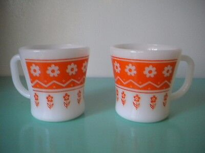 2 Vintage Federal Ware Mugs/cups Milk Glass With Orange Daisies/flowers